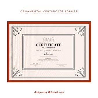 Modèle de bordure de certificat ornemental