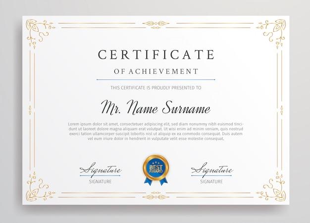 Modèle de bordure de certificat de réussite or avec badge bleu format a4