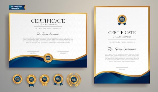 Modèle de bordure de certificat de réussite or et bleu avec badge