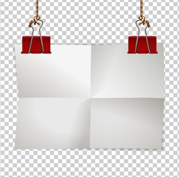 Modèle de bordure avec des clips papier et rouge