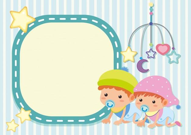 Modèle de bordure avec deux enfants en bas âge