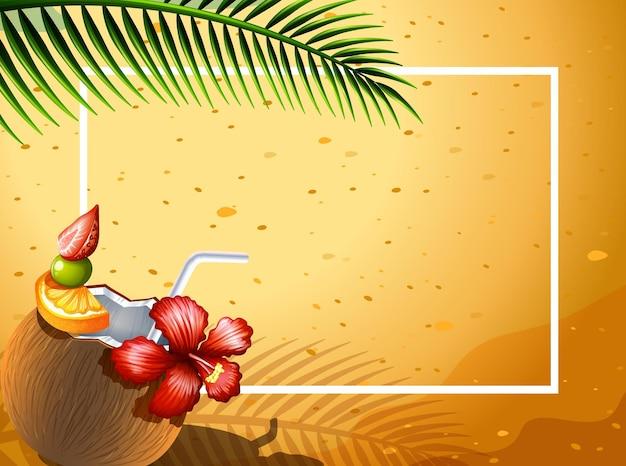Modèle de bordure avec du jus de noix de coco sur la plage