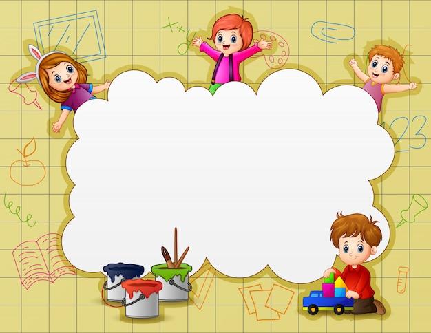 Modèle de bordure avec des enfants heureux
