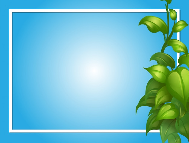 Modèle de bordure avec des feuilles vertes sur le côté