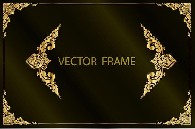Modèle de bordure florale cadre or