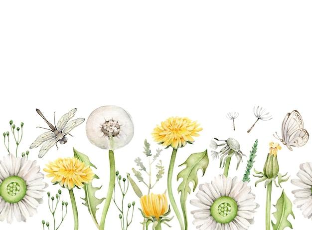 Modèle de bordure florale d'été