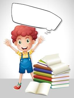 Modèle de bordure avec garçon et livres
