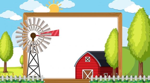 Modèle de bordure avec grange rouge et moulin à vent
