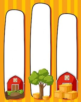 Modèle de bordure avec granges rouges