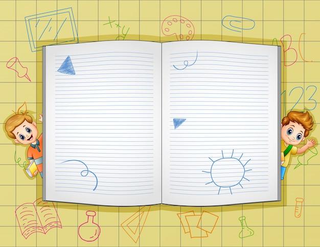 Modèle de bordure avec livre ouvert et écoliers