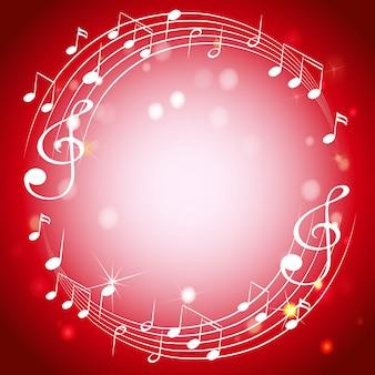 Modèle de bordure avec des notes de musique sur fond rouge