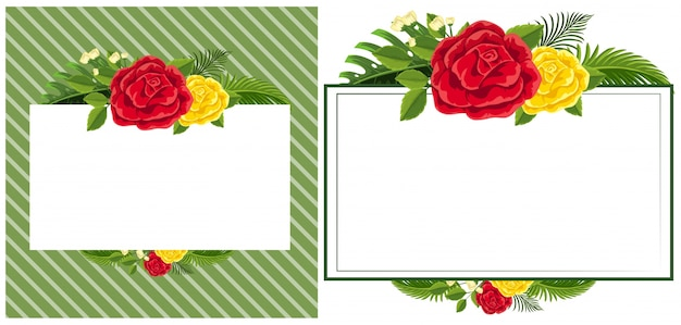 Modèle de bordure avec des roses rouges et jaunes