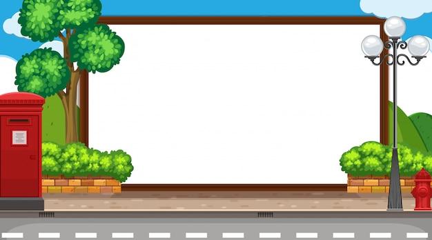 Modèle de bordure avec rue et montagnes en arrière-plan