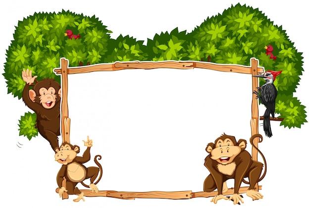 Modèle de bordure avec des singes et toucan