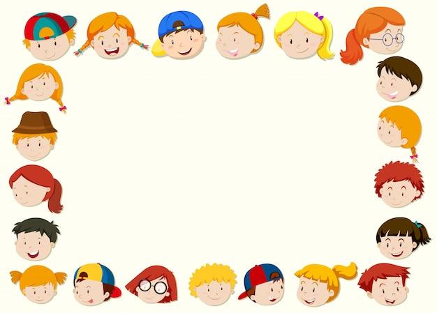 Modèle de bordure avec visage d'enfants heureux