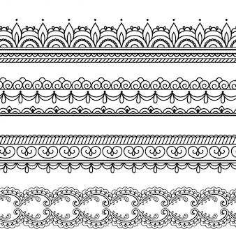 Modèle de bordures sans couture pour mehndi, dessin au henné et tatouage.