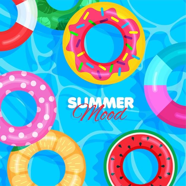 Modèle de bouée de sauvetage colorée summer pool