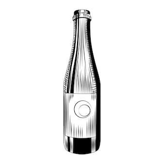 Modèle de bouteille de bière artisanale. bouteille de cidre dessiné main isolé sur fond blanc. style vintage gravé. illustration vectorielle