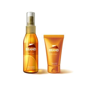 Modèle de bouteille cosmétique de soin de la peau imperméable à l'eau de protection contre les rayons ultraviolets sunblock
