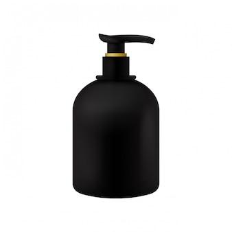 Modèle de bouteille de cosmétiques de produits de beauté noir emballage vectoriel avec distributeur sur blanc isolé