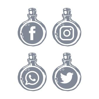 Modèle de bouteille d'icônes de médias sociaux