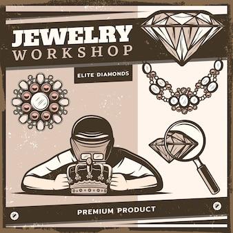 Modèle de boutique de bijoux vintage