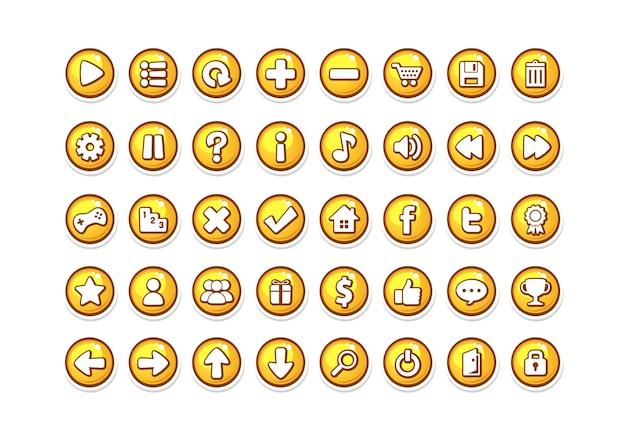Modèle de bouton de jeu jaune