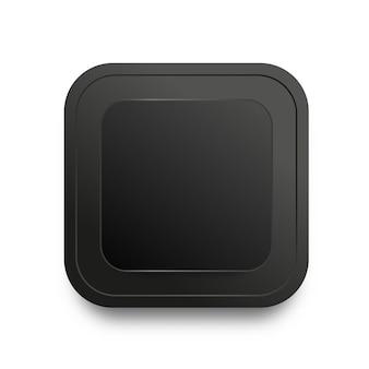 Modèle de bouton noir avec ombre réaliste isolé sur fond blanc