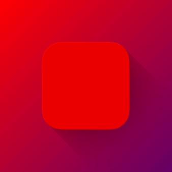Modèle de bouton vierge d'icône d'application abstraite rouge avec fond plat conçu d'ombre et de dégradé