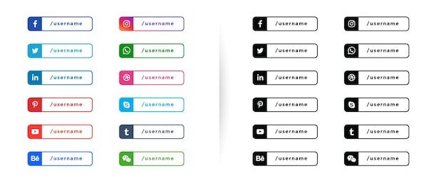 Modèle de boutons de bannières tiers inférieur de médias sociaux