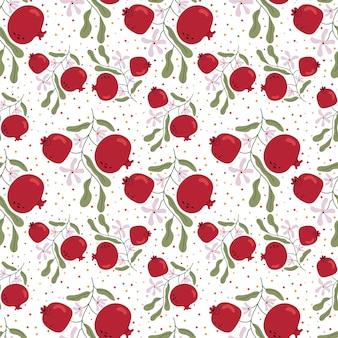 Modèle d'une branche avec des fruits et des fleurs de grenade. humeur printanière. santé. illustration pour livre pour enfants. affiche mignonne illustration simple.