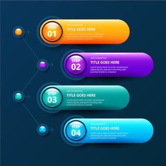 Modèle brillant réaliste de timeline infographie