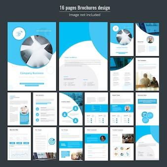 Modèle de brochure de 16 pages bleues