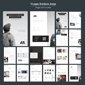 Modèle de brochure de 16 pages d'entreprise minimale