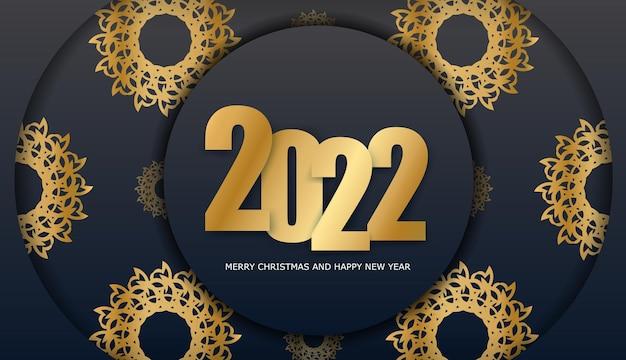 Modèle de brochure 2022 joyeux noël et bonne année couleur noire avec motif or vintage