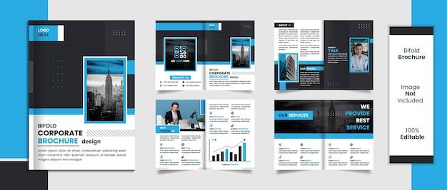 Modèle de brochure de 8 pages avec des formes minimales de conception de couleur noir et bleu.