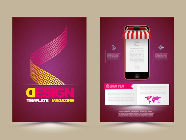 Modèle de brochure abstract vector avec les smartphones