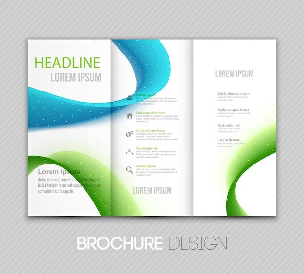 Modèle de brochure abstraite avec des vagues vertes et bleues