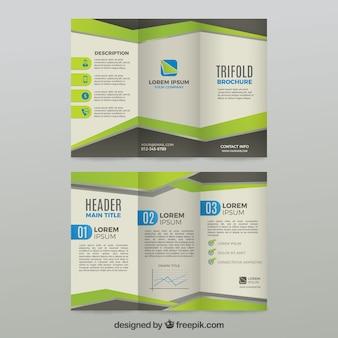 Modèle de brochure d'affaires trifold vert et gris