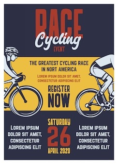 Modèle de brochure affiche rétro vintage de course cycliste