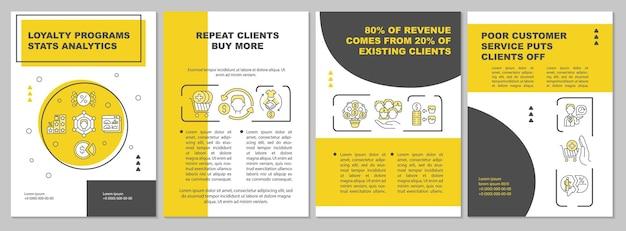 Modèle de brochure d'analyse des statistiques des programmes de fidélité. flyer, brochure, dépliant imprimé, conception de la couverture avec des icônes linéaires. dispositions vectorielles pour la présentation, les rapports annuels, les pages de publicité
