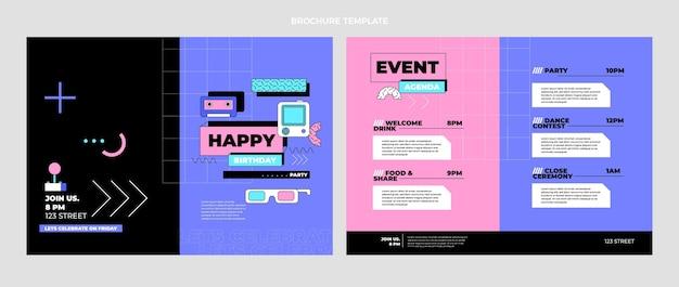 Modèle De Brochure D'anniversaire Nostalgique Plat Des Années 90 Vecteur gratuit