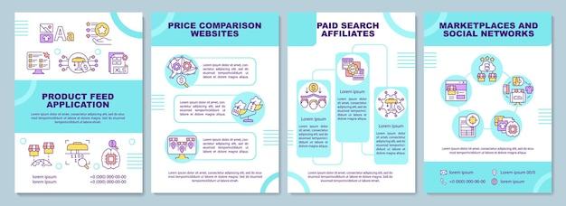 Modèle de brochure d'application de flux de produits. comparaison de prix.
