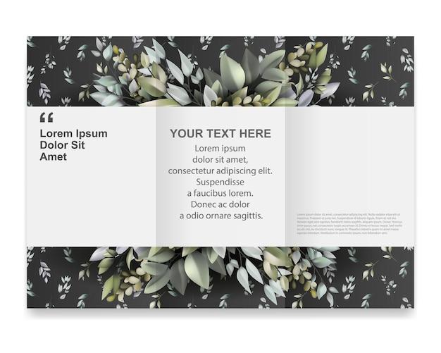 Modèle de brochure avec un beau motif végétal