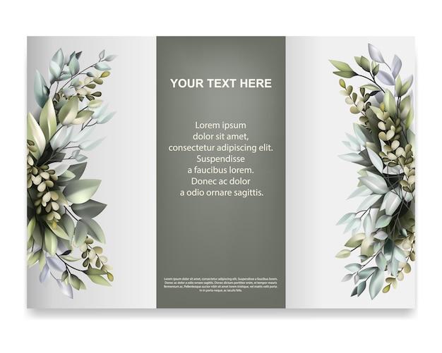 Modèle de brochure avec une belle décoration de flore