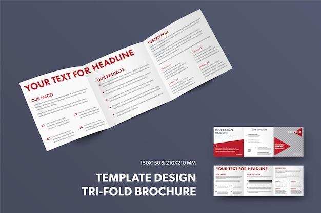 Modèle de brochure carré standard avec présentation du design ouvert à trois volets avec des triangles rouges
