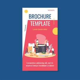 Modèle de brochure de chef de restaurant et son équipe de cuisine de pâtes