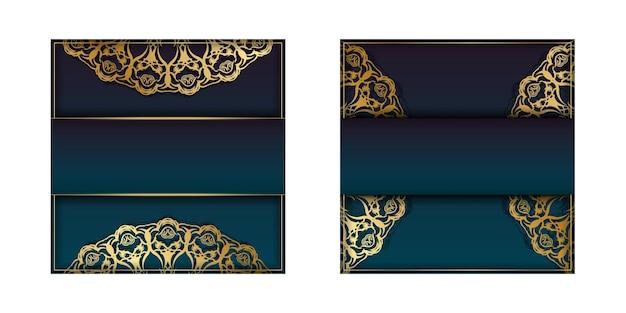 Modèle de brochure avec une couleur bleue dégradée avec un motif doré mandala pour votre marque.