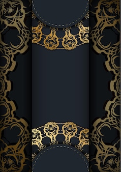 Modèle de brochure de couleur noire avec motif doré abstrait pour votre conception.