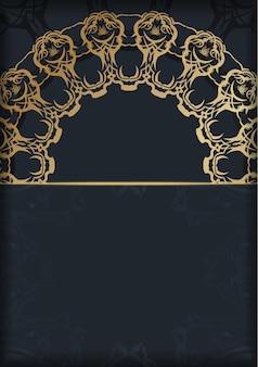 Modèle de brochure en couleur noire avec motif doré abstrait préparé pour l'impression.